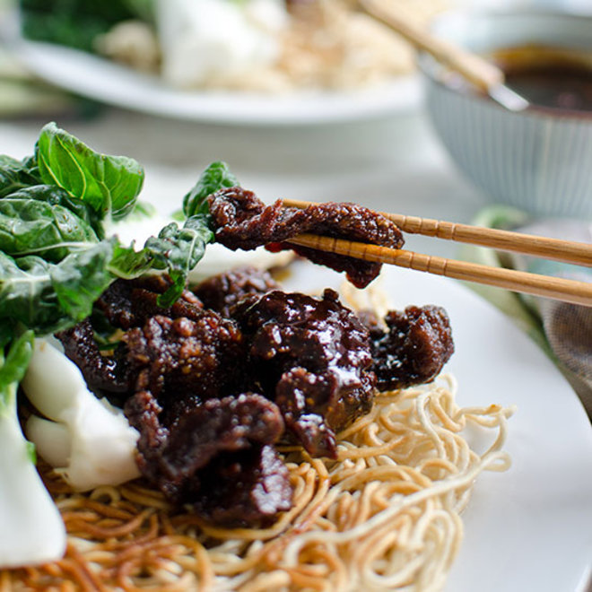 Food & Wine: Mongolian Beef and Baby Bok Choy Stir-Fry with Crispy Chow Mein Noodles
