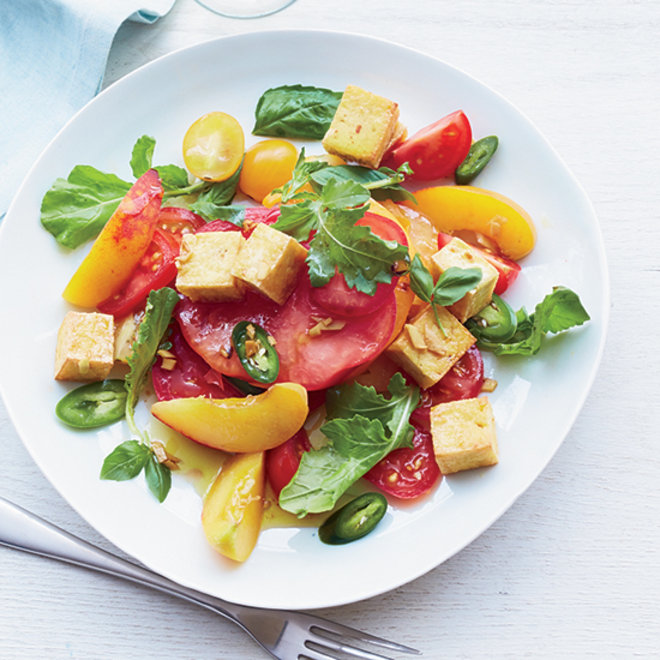 Food & Wine: Tomato-and-Peach Salad with Crisp Tofu