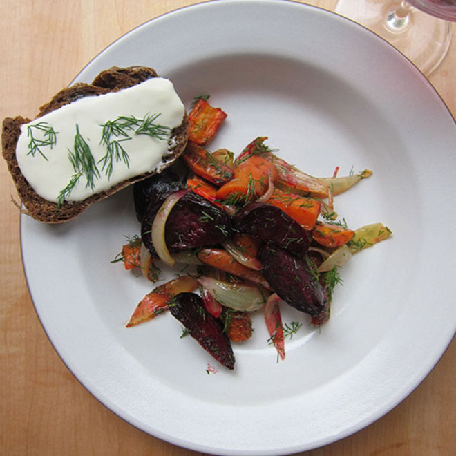 Food & Wine: Borscht Salad with Fresh Cheese and Pumpernickel Toasts