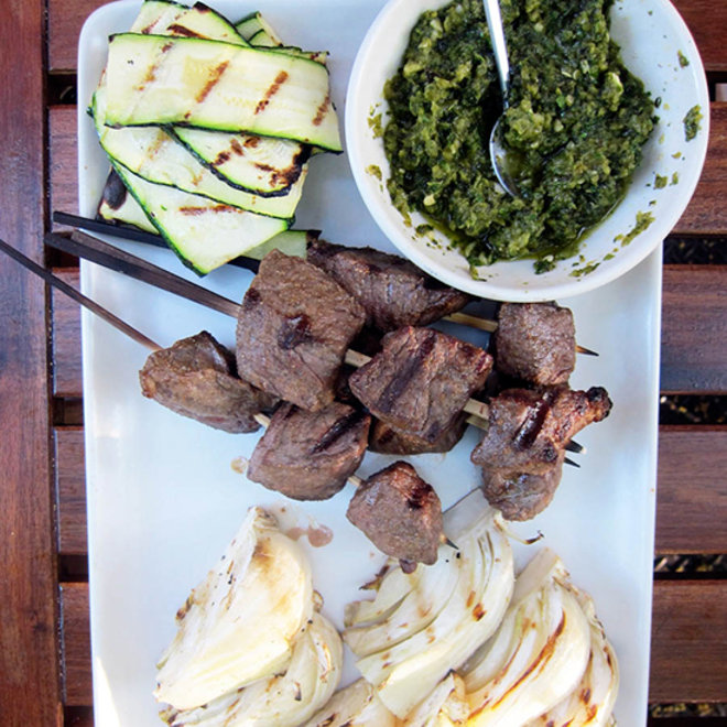 Food & Wine: Beef and Vegetable Mixed Grill with Poblano Zhoug
