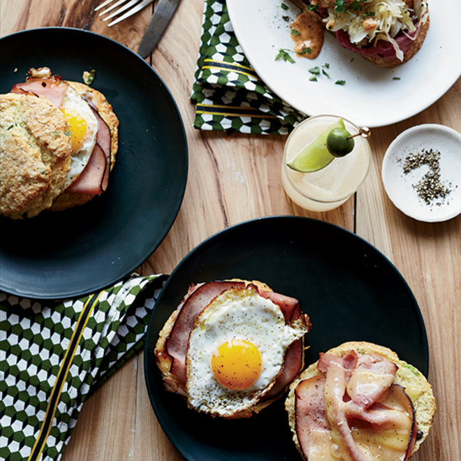 Food & Wine: Ham and Cheddar Scallion Biscuit Sandwiches