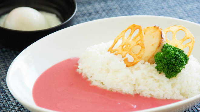 pink curry from cherry blossoms in japan