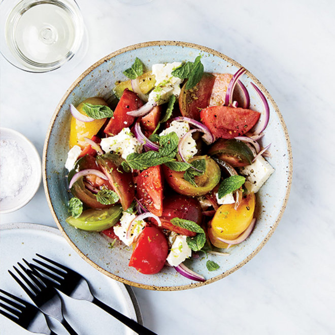 Food & Wine: Tomato-Feta Salad with Lime and Mint