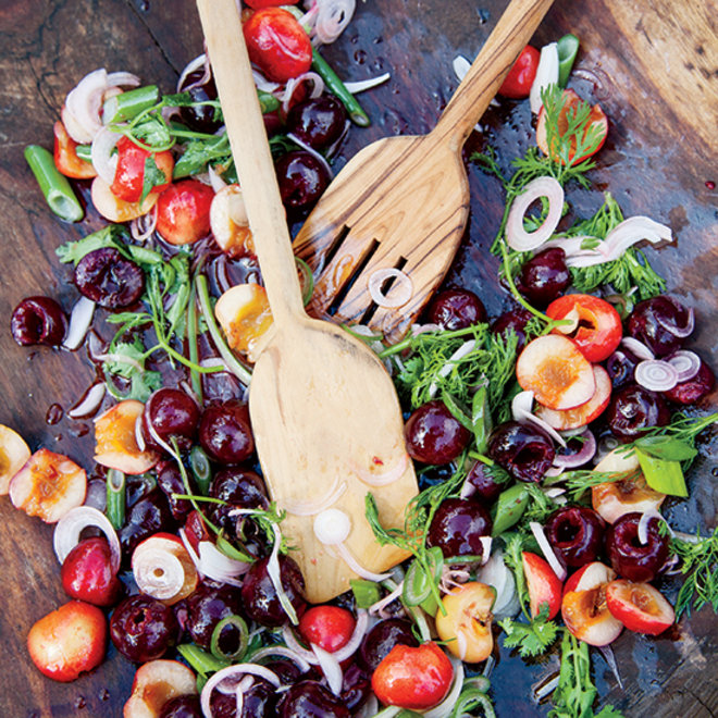 Food & Wine: Fresh Cherries with Spring Onions and Cilantro