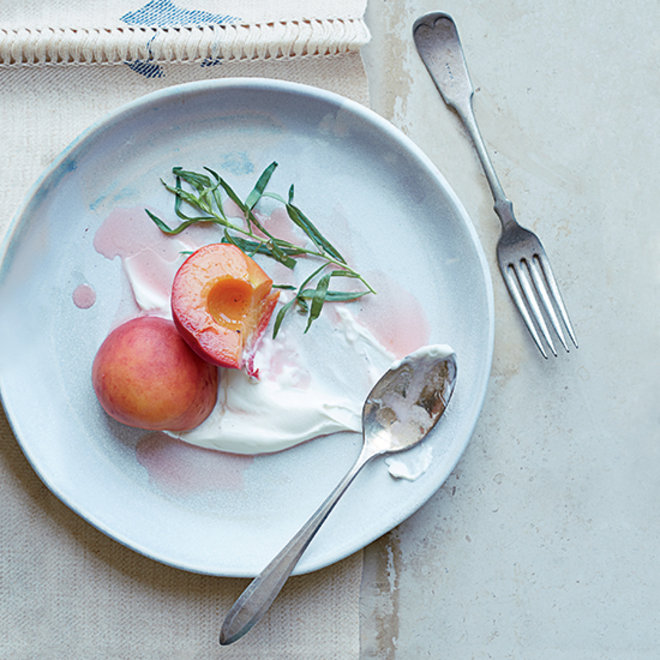 Food & Wine: Riesling-Poached Peaches with Tarragon and Salted Sour Cream