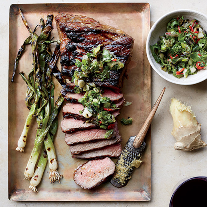 Food & Wine: Tri-Tip Steak with Grilled Scallion, Ginger and Cilantro Relish