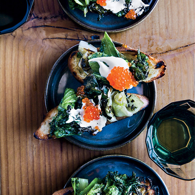 Food & Wine: Grilled Escarole Toasts with Trout Roe