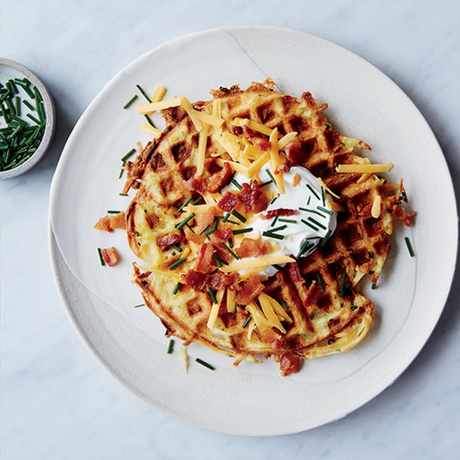 Food & Wine: Shredded potato waffle topped with cheddar cheese, bacon and sour cream