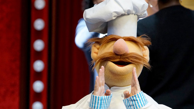 The Swedish Chef on the set of The Muppets