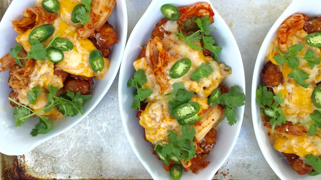 Food & Wine: Tater Tot Nachos with Kimchi Cheese Sauce