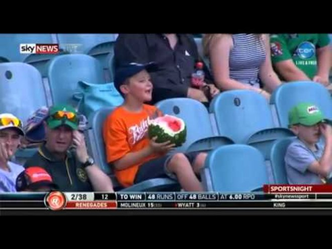 'Watermelon Boy' Eats Whole Watermelon at Australian Cricket Game, Becomes National Hero