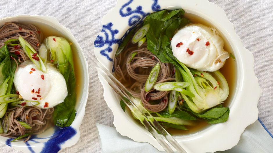 Soba Noodles with Dashi, Poached Egg and Scallions