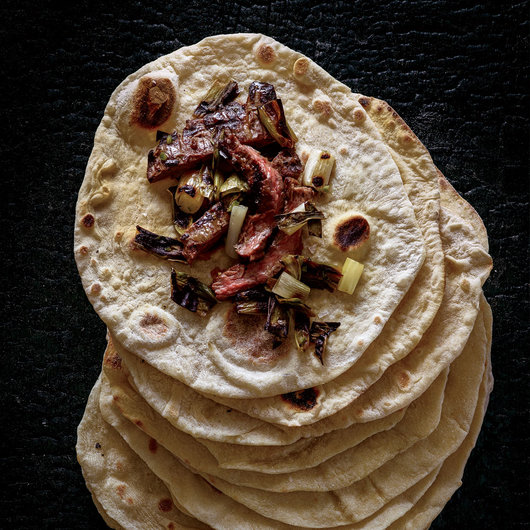 Sourdough Tortillas with Charred Steak and Scallion Salsa