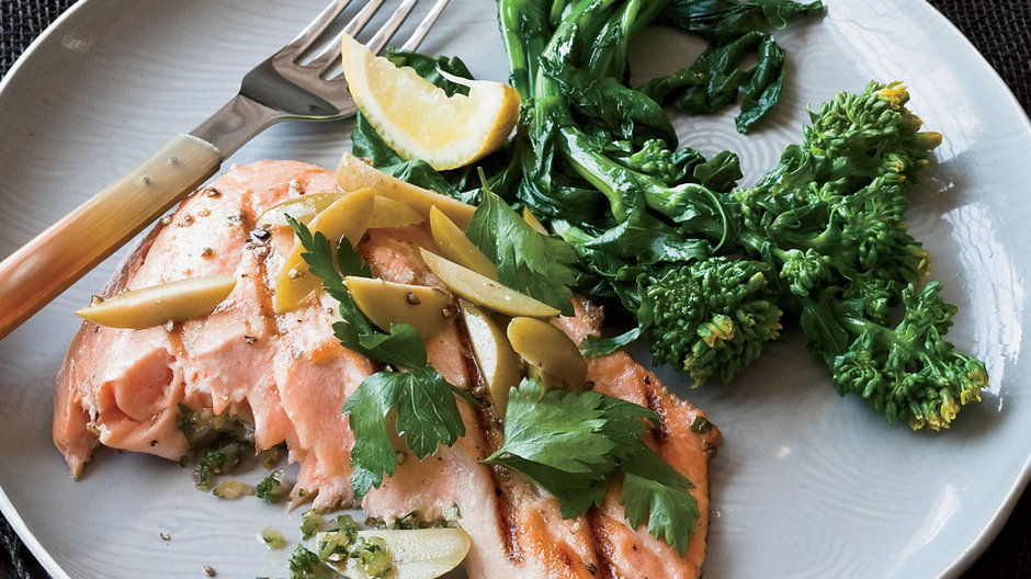 Grilled Salmon with Preserved Lemon and Green Olives