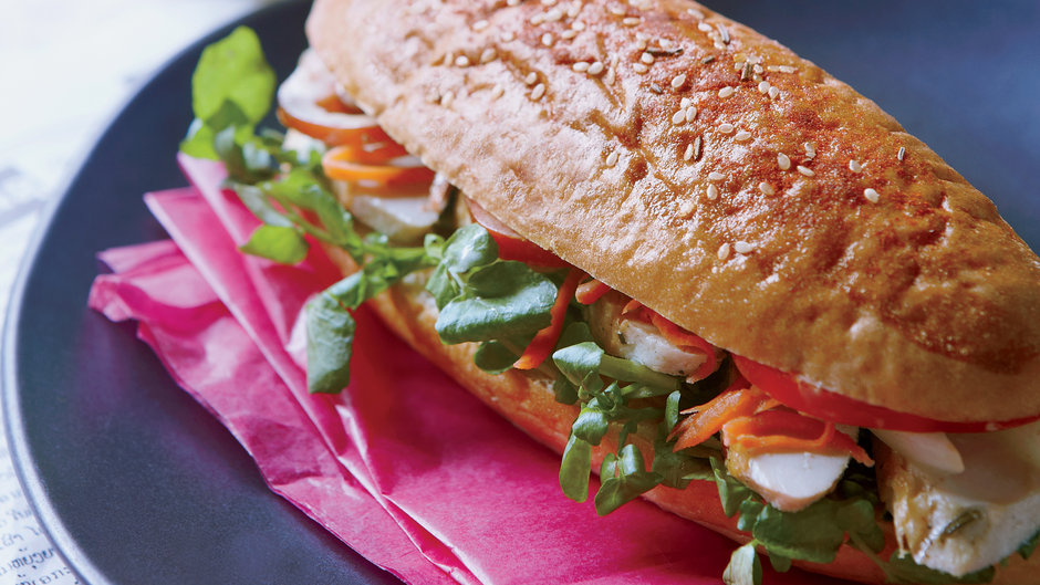 Lao-Style Chicken Baguette Sandwiches with Watercress