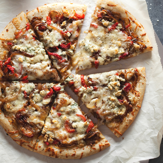 Three-Cheese Pizza with Caramelized Onions and Pimientos