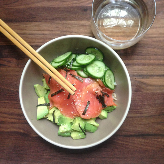 Food & Wine: Smoked Salmon and Avocado Rice Bowl with Riesling