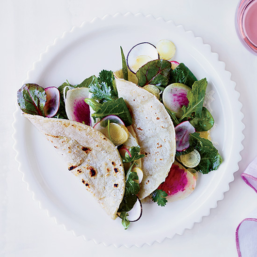 Food & Wine: Alice Waters' Salad Tacos with Melted Jack Cheese