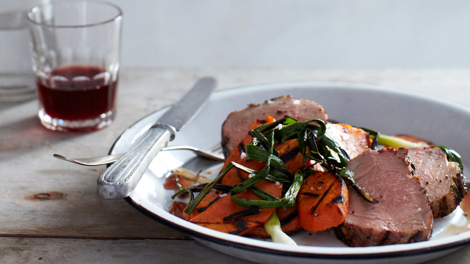 Grilled Spice-Rubbed Pork Tenderloin with Sweet Potatoes and Scallions