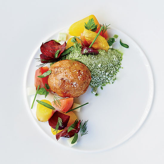 Food & Wine: Herb snow at Niche: Flash-frozen tarragon, chives and chervil.