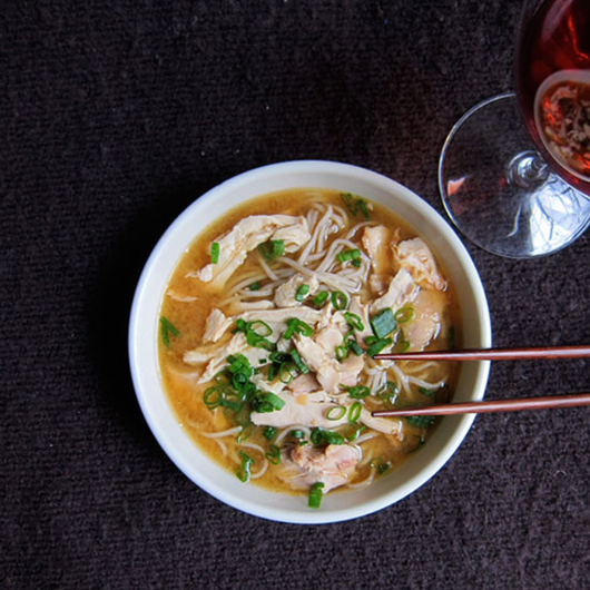 Food & Wine: Chicken Soup with Soba, Red Miso and Meyer Lemon