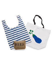 Food & Wine: Feed 100 Totes, by model-turned-environmentalist Lauren Bush, zip into tiny tan pouches ($30; wholefoods.com). Baggu has nautical stripes ($10; baggubag.com). R. Nichols's totes show images of produce ($24; r-nichols.com)