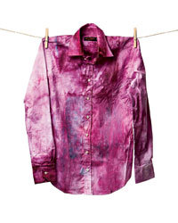 """Food & Wine: Designer Kean Etro of Etro created """"Cooked"""" shirts, not to sell but to inspire others to reinvent stained clothes instead of tossing them out. His upcycled-fashion manifesto includes recipes: """"Bake shirt, sugar and blueberries at 330 degrees."""""""