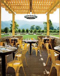 Food & Wine: Outside patio overlooking kitchen gardens at Brix 25°.