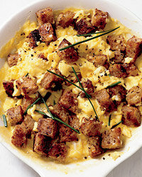 Food & Wine: Scrambled Eggs with Herbed Croutons  (Elegant Weekend Brunch). Photo © Stephanie Foley.