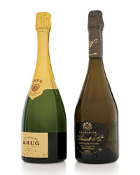 Food & Wine: Krug Grande Cuvee ($180) (left) and 2002 Vilmart & Cie Grand Cellier D�Or ($90). Photo © Terry Monk.