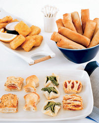 Food & Wine: Frozen plump fish nuggets, flaky hors d'oeuvres and crunchy spring rolls.