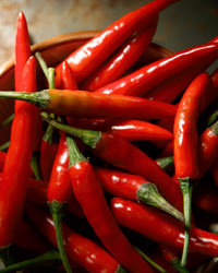 Food & Wine: Dishes with hot chiles do well with reds that aren't too tannic. Photo © iStock.
