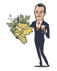 Food & Wine: Illustration of man holding wine and greens.
