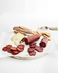 Food & Wine: Les Trois Petits Cochons's new dry sausages ($8 for 8 oz; 3pigs.com).