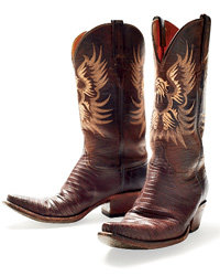 Food & Wine: Cowboy Boots: Sanded Lizard 5 Toe from Lucchese Classics, $795; kemosabe.com.