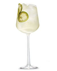 Food & Wine: Glass of wine with seltzer and lime.