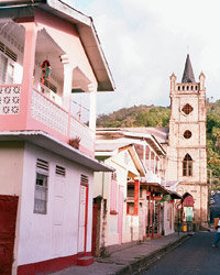 Food & Wine: St. Lucia's old homes are painted pastel colors.