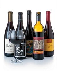 Food & Wine: Value Syrah (l to r): 2007 Bonterra Mendocino County ($16), 2008 Substance Sy ($15), 2007 Bonny Doon Le Pousseur ($18), 2007 Boomtown ($15), 2007 Smoking Loon ($8). Photo © Sabra Krock.
