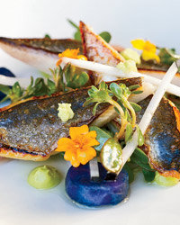 Food & Wine: Commonwealth chef Jason Fox's mackerel with avocado puree.