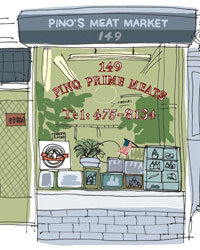 Food & Wine: An illustration of Pino's Meat Market in lower Manhattan.
