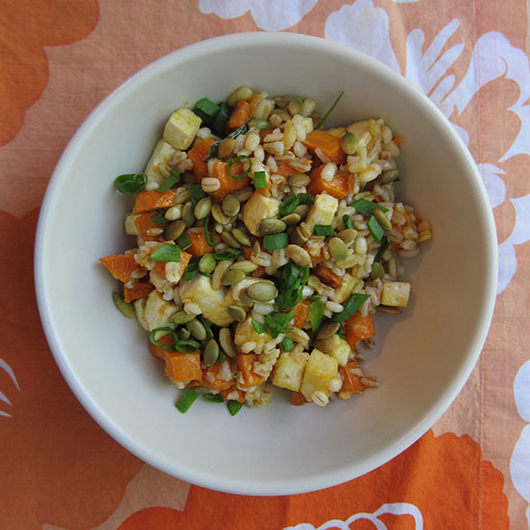 Food & Wine: Warm Sweet Potato-and-Barley Salad with Miso-Lime Dressing