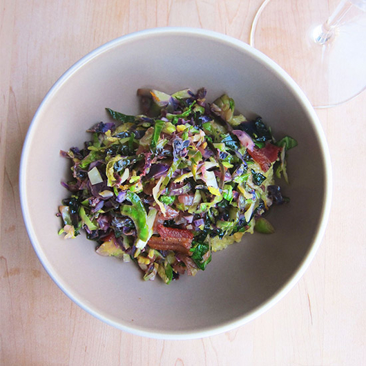 Food & Wine: Smoky Brussels Sprouts and Polenta with a Rich White
