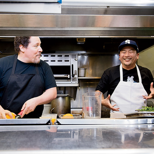 Food wine jon favreau and roy choi in the kitchen for American cuisine film