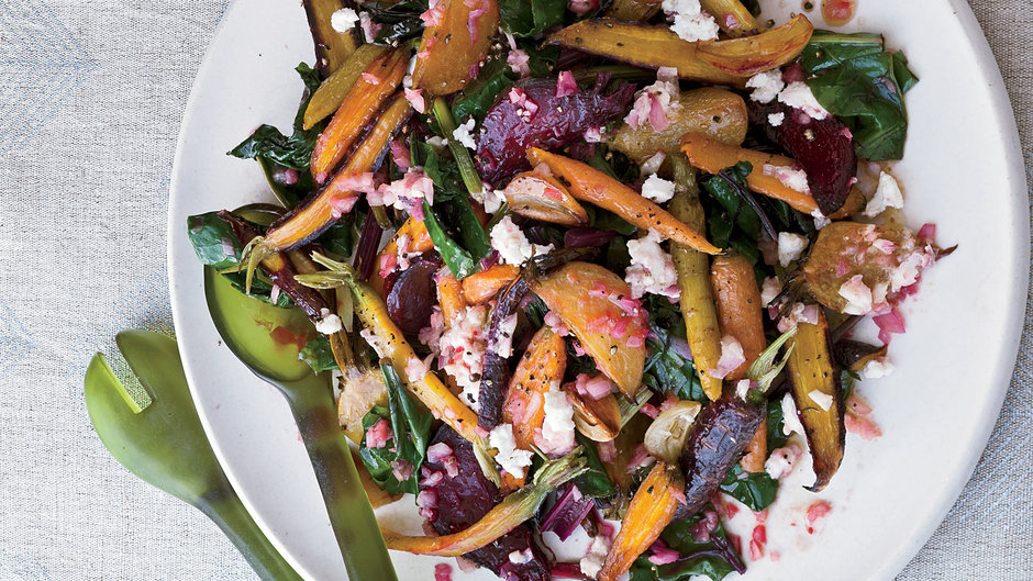Roasted Beets and Carrots with Goat Cheese Dressing