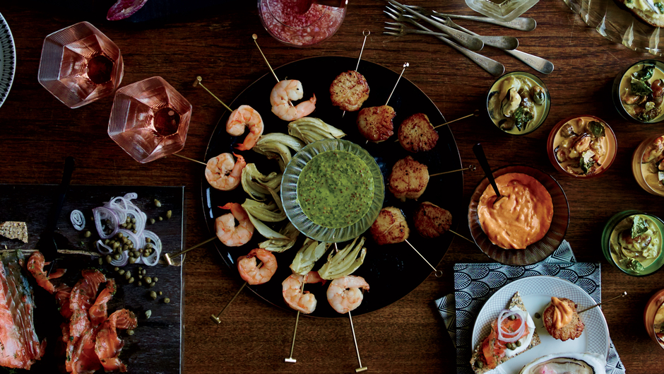 Roasted Shrimp-and-Fennel Skewers with Mustard Chimichurri