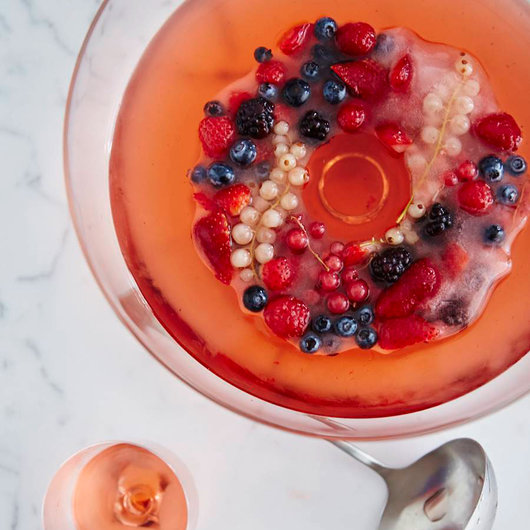 Rose Sangria with a Mixed-Berry Ice Ring
