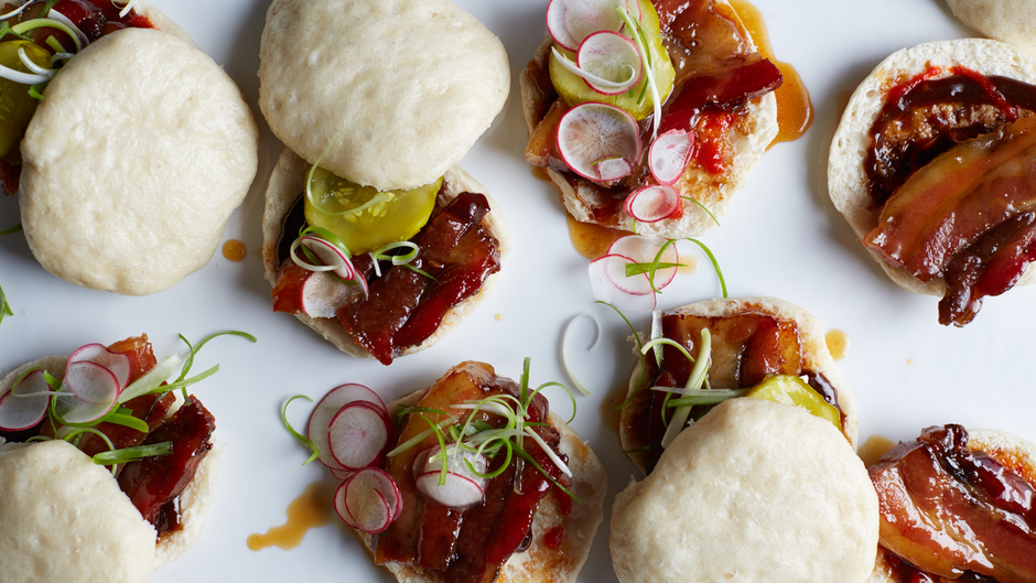 Steamed Bacon Buns with Hoisin