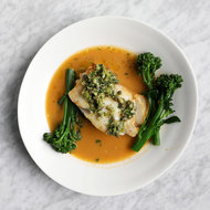 Food & Wine: Baked Cod Fillet with Bouillabaisse Sauce and Green Olive Tapenade