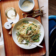 Food & Wine: Thin Spaghetti with Crab and Asparagus