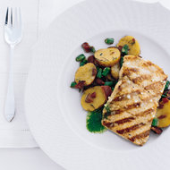 Food & Wine: Curto's Grilled Salmon with Bacon and Potato Hash
